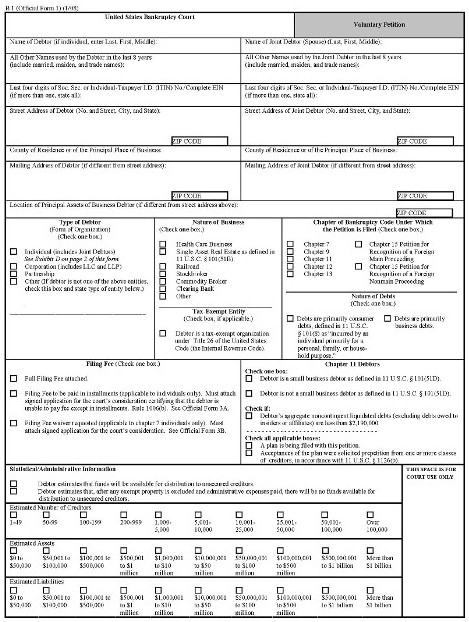 Before Bankruptcy Form